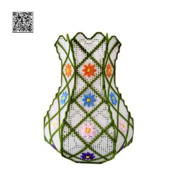 Plastic Canvas Cross Stitch kit, 3D three-dimensional vase cross stitch,n008