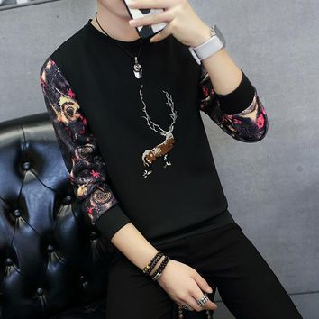 Deer Printing Hoodies Men Brand Tracksuit Space Cotton Slim Fit Couples Casual Sportswear Floral Printed Teenagers Clothes