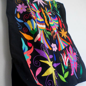 Otomi Love Birds Amazing Otomi Blouse Hand embroidered by #Otomi women. Black and multicolor embroidery One size fits all