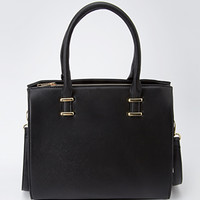 Embossed Faux Leather Satchel