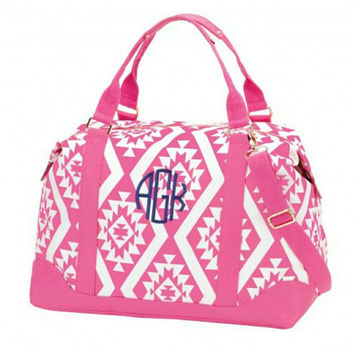 Monogrammed Aztec Weekender Bag. Great for traveling or a weekend away. Available in mint or pink. Great Christmas gift or team gifts