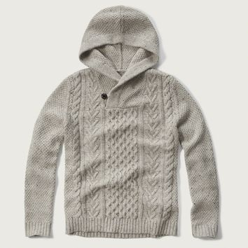 Cable Henley Hoodie