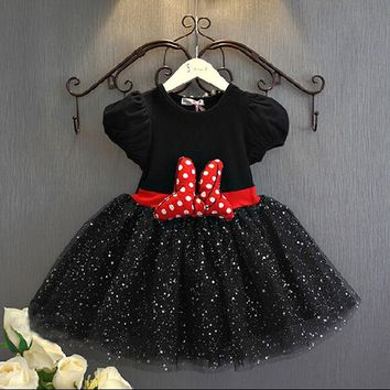 Fashion Kids Baby Girls Dress Minnie Mouse Dresses For Girls Princess Minnie Dress Birthday Party Children Clothes Kids Costume