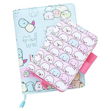 2017 Kawaii a5 Planner Travelers Notebook Cute Japanese Stationery Leather Notebook Happy Planner Diary School Supplies