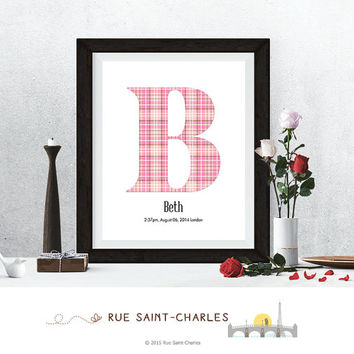baby nursery art monogram logo personalized birthday gift baby initial art print DIY printable art home decor nursery decor wall art  print