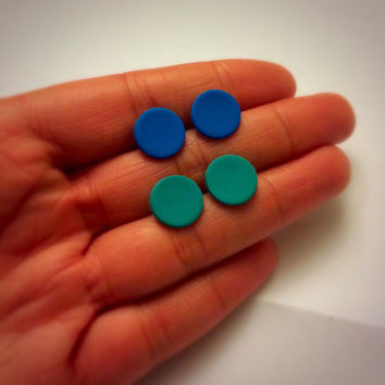 Large Matte Blue Studs Unisex Earring Set of Post Studs