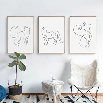 07G Minimalism Abstract Line Curve Cat Animal Canvas Art Painting Poster Picture Wall Living Room Bedroom Home Decoration Mural