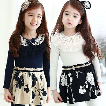 Hot sale Kids Baby Girls Dress Plum Blossom Crochet One Piece Tutu Princess Dress Lace Collar dress = 1958517572