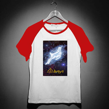 Harry potter always deer - Short Sleeve Raglan - White Red - White Blue - White Black XS, S, M, L, XL, AND 2XL *02*