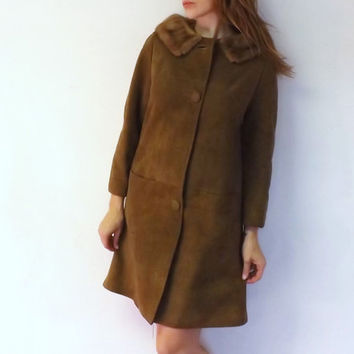 Vintage 1950s 1960s Tan Brown Suede Leather Fur Coat Tan Fur Collar Mad Men Style Outerwear Winter Jacket