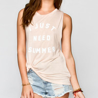 Young Romantics Just Need Summer Womens Tank Peach  In Sizes