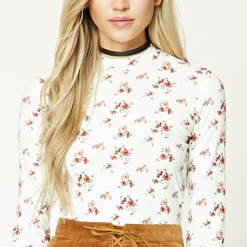 Floral Print Ribbed Knit Top