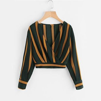 Yellow Stripe Crop Tops Wrap V Neckline Ruched Blouse Fall Fashion Women Elegant Button Long Sleeve Sexy Blouse