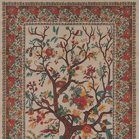 Handmade 100% Cotton Tree of Life Tapestry Throw Tablecloth Spread Queen Tan 106x106
