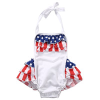 Lovely Newborn Baby Girl Romper Clothes Infant Bebes American Flag Ruffled Skirted Kids Jumpsuit Outfit Sunsuit