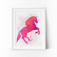 Horse Art, Watercolor Horse, Nursery Horse, Printable Art, Rose, Coral Prints, Girls Room Decor, Baby Girl Nursery, Kids Wall Decor