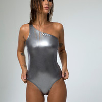 Rigby Swimsuit in Metallic Pewter by Motel