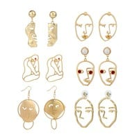 Abstract Line/Face Earrings