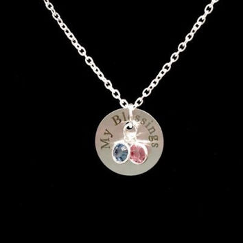 Birthstone Personalized My Blessings Gift Mom Grandma Mother Wife Necklace
