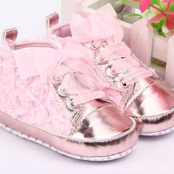 Toddler Baby Kid Girl Non-slip Soft Sole Crib Sneaker Shoes Pre-walker Boots White Pink Uk size 0 -24M