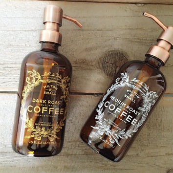 Glass & Copper Soap Dispenser