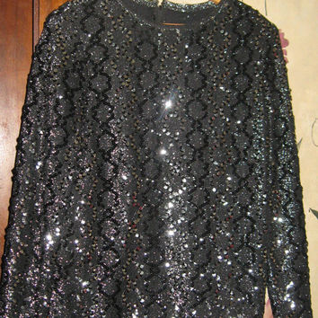 VINTAGE 80s black with silver sequins disco shirt