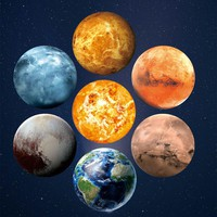 3D Planets Fluorescent Wall Sticker Removable Glowing In The Dark Sticker