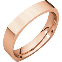 10k Rose-Pink Gold 4mm Square Comfort Fit Wedding Band Ring - Bridal Jewelry: RingSize: 50