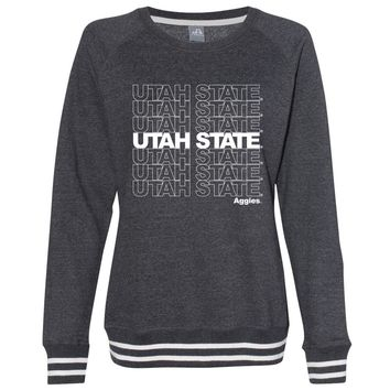 Official NCAA Utah State Aggies CL18UTS01 Women's Crewneck Sweatshirt with White Striped Edges
