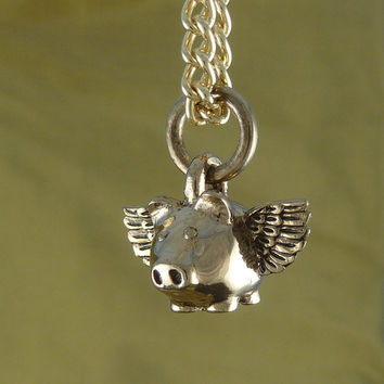 "Flying Pig Necklace Bronze Small Flying Pig Pendant on 24"" Gold Plated Chain - When Pigs Fly"