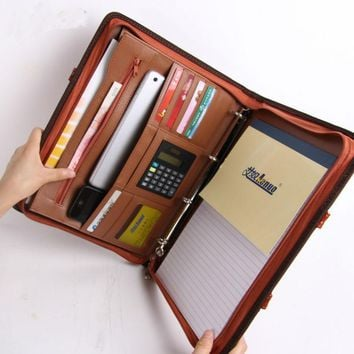 a4 zipper leather business office manager document bag file folder portfolio conference agreement briefcase with handle 442C