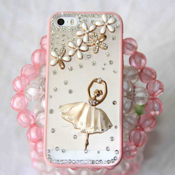 Ballet girl protective case for iPhone 5s/5/4/4s super thin clear frosted hard back silicone TPU soft frame