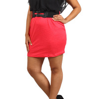 Chiffon Belt Bodycon Dress - Coral - Plus Size - 1x - 2x - 3x