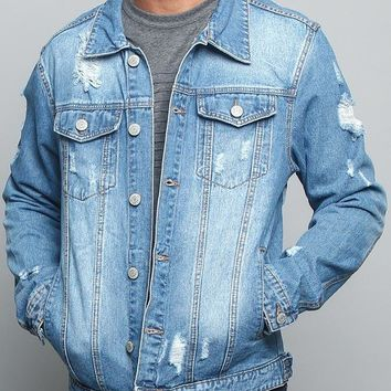 Savage Tiger Denim Jacket DK133 - L