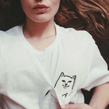 RipNDip Women Men Fashion Pattern Print Short Sleeve Tunic Shirt Top Blouse-1