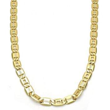 Gold Layered 04.63.1339.24 Basic Necklace, Pave Mariner Design, Polished Finish, Golden Tone
