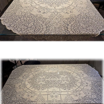 "Vintage Quaker Lace Tablecloth,Numbered Label and Picot Loops,Oval Tablecloth,82"" x 67"",Large Table Cover,Cream Tablecloth,Lace Table Linen"