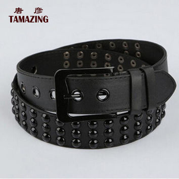 women's belt fashion women's pu leather belt 105cm rivet belts