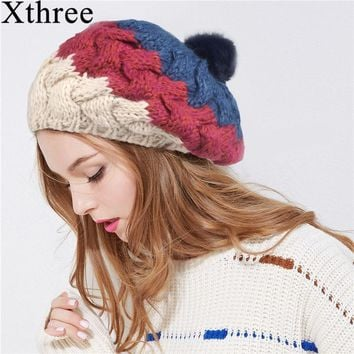 Xthree New fall women winter hat for girl  knitted beret hat with rabbit fur pom pom fashion beanie cap