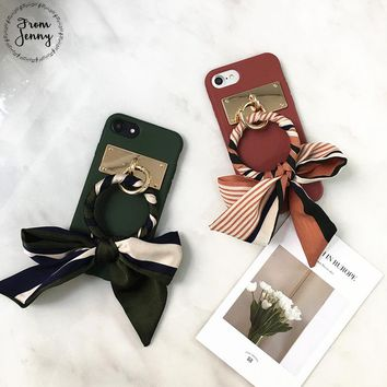 From Jenny Korean Ribbon Strap Circle For iPhone 7 7plus 8 8plus Case Capa For iPhone 6 6s 6plus 6s+ Lady Soft back case