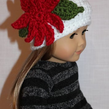 crochet beanie hat with poinsettia, crochet doll hat, christmas doll hat. white doll hat, 18 inch doll clothes, american girl, maplelea