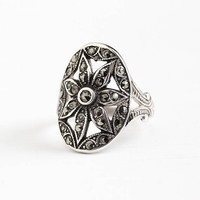 Vintage Art Deco Sterling Silver Marcasite Statement Flower Shield Ring - 1930s Size 5 Flapper Cocktail Ring Jewelry Signed Uncas U Arrow