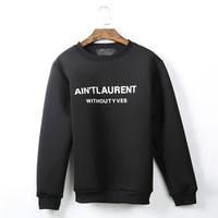 Ain't Laurent Without Yves Scuba Black Crewneck