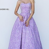 A-Line Sweetheart Floral Print Long Prom Dress by Sherri Hill