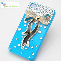 Free shipping iPhone 4 case, iPhone 4s case, case for iPhone 4 mobile case handmade: Bling bling bow i93499521 (custom are welcome)