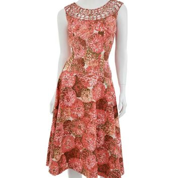 1950s Impressionist Floral Cotton Flared Garde Party Dress-L