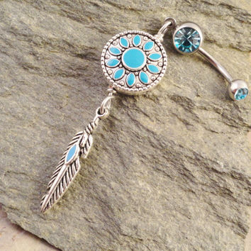 Turquoise Blue Dreamcatcher Belly Button Jewelry Ring