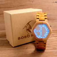 BOBO BIRD Hexagonal Form Wood Watch Mens Kisai Wood LEDs Watch Unique Red Night Vision Wood Time Display in Box