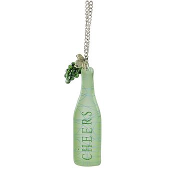 """Tuscan Winery """"CHEERS"""" Green Wine Bottle with GrapesTag Christmas Ornament 5"""""""