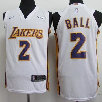 Best Sale Online Nike NBA Basketball Jersey Los Angeles Lakers # 2 Lonzo Ball White Ni